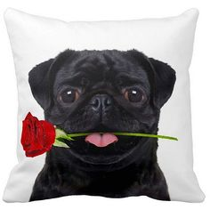 ileesh Pug Black With a Rose 16-inch Throw Pillow