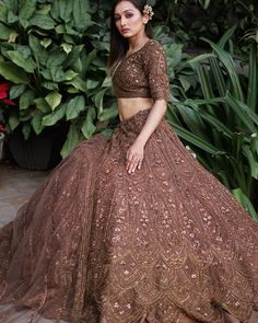 Engagement Outfit Inspiration Latest monochrome lehenga perfect for engagement. Indian Wedding Lehenga, Pakistani Wedding Outfits, Indian Bridal Outfits, Indian Bridal Fashion, Latest Bridal Lehenga, Indian Fashion Dresses, Indian Gowns Dresses, Dress Indian Style, Indian Designer Outfits