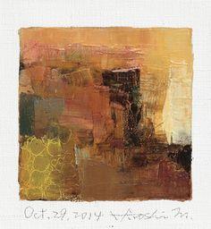 Il sagit dune peinture à lhuile abstraite Original par Hiroshi Matsumoto    Titre : 29 octobre 2014  Taille : 9,0 cm x 9,0 cm (env. 4 « x 4 »)