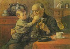 Ot en Sien.....Ot bij opa op schoot. Even voelen of zijn baard echt is.