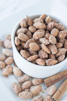 These Cinnamon Sugared Almonds come together super quickly and are delicious! Once cooled they are the perfect sweet treat.