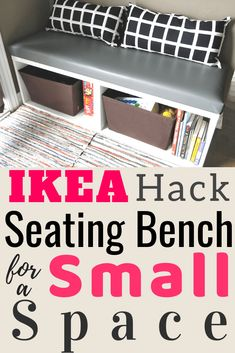 Ikea besta hack seating bench for small spaces. Easy Ikea hack that can be done in an afternoon. Small space seating bench with storage. Ikea Hack Bench, Diy Bench Seat, Bookcase Bench, Ikea Bookcase, Ikea Hacks, Hacks Diy, Ikea Small Spaces, Small Space Storage, Furniture For Small Spaces