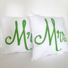 Mr. and Mrs. Pillows FREE SHIPPING by KatieScarlettCo on Etsy, $42.50