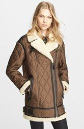 Burberry Brit 'Reeseford' Leather & Genuine Shearling Trim Quilted Jacket