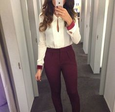 red burgundy pants white top