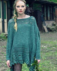 Ivy 2 | Knitting Fever Yarns & Euro Yarns - beautiful green sweater poncho