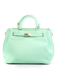 Mint Front Lock Shoulder Bag