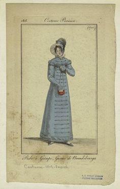 """Robe à guimpe, garnie de Brandebourgs."" Costume Parisien, 1818.    Depicted Date  : 1818"