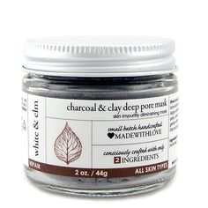 Charcoal & Clay Deep Pore Mask from whiteandelm.com. {$32} Banish breakouts and neutralize oily skin with this powerfully absorbent mask that deeply draws out toxins from the skin. This is the mask you want for neglected skin or busting blackheads! #deepporecleansing #antiacne #skinrefining #blackheadremover #facemask