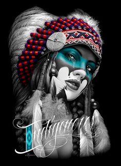 paintings of First Nation pinups American Art, Native American Tattoos, American Tattoos, Lowrider Art, Skull Art, Indian Art, Chicano Art, Native Tattoos, Indian Tattoo