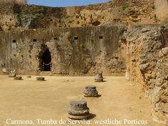 Necrópolis de Carmona - Tumba de Servilia / The Roman necropolis, which should be the middle and especially the upper class subject, many in the rock contains whipped grave chambers with niches for urns and occasionally spaces that have stone seats (triclinia).