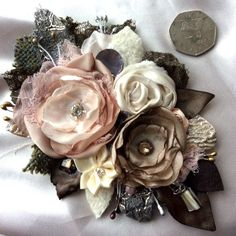 14 cm ROSE brown pink brooch dress hat pin wedding flower mother of the bride xl