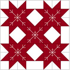 The snowflakes are falling on this little wonder. Christmas Blocks, Christmas Quilt Patterns, Barn Quilt Patterns, Pattern Blocks, Christmas Sewing, Christmas Quilting, Christmas Christmas, Snowflake Quilt, Snowflakes