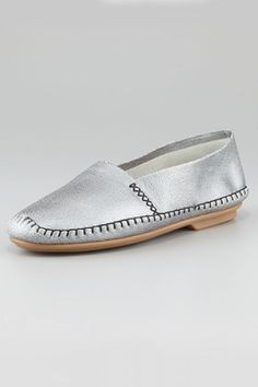 Metallic moccasin (Jacques Levine) flat shoes for fall