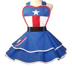 Retro Apron Captain America Apron Captain by WellLaDiDaAprons Captain America Party, Captain America Cosplay, Retro Apron, Aprons Vintage, Disney Aprons, Princess Aprons, Cute Aprons, Sewing Aprons, Apron Dress