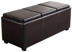 Simpli Home Rectangular Faux Leather Storage Ottoman and Tray Set - Brown - Large