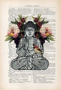 Buddha with Poppy meditating with a bird 3 different sizes are available : x inches x cm) printed on original antique french book page x inches x 29 cm) printed on original antique french book page x inches x 42 cm) printed on high Buddha Zen, Buddha Meditation, Zen Wallpaper, Mystic Wallpaper, Artwork Prints, Poster Prints, Posters, Art Photography Portrait, Buddha Painting