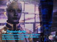 The Shadowbrokertini - Liara T'Soni  Recipe    1/2 oz Scotch Whiskey  3/4 oz Blue Curacao  1/4 oz lime juice  Champagne or Lemonade to fill  And add Blueberries for that extra Liara-ness