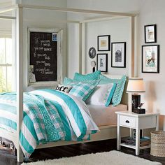 Pottery Barn Teen, I love this bedspread. This whole picture is my dream bedroom