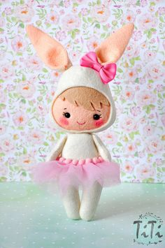 Felt bunny doll Cute girl costume bunny Easter bunny