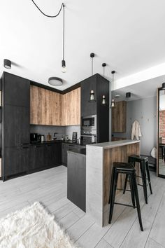 Kitchen Interior Design – Kitchen is a place for us to make favorite food. Therefore the kitchen must make us . Industrial Kitchen Design, Kitchen Room Design, Modern Kitchen Design, Home Decor Kitchen, Interior Design Kitchen, Home Decor Bedroom, Home Kitchens, Modern Industrial Decor, Loft Kitchen