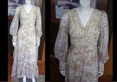 Vintage 1970s Cream Floral Gunne Sax Prairie Hippie Dress Perfect For Spring by WestCoastVintageRSL, $94.00
