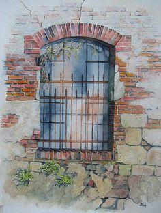 """Kerstin Birk, """"Altes Fenster (Mühle Oelsitz)"""" Mit einem Klick auf 'Als Kunstkarte versenden' versenden Sie kostenlos dieses Werk Ihren Freunden und Bekannten."""