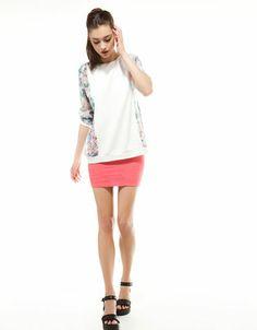 Bershka Spain - Bershka combined fabric blouse