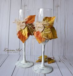 Personalized Rustic Fall Holiday Wedding Champagne Flutes