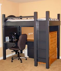 Loft bed w desk & storage for a small bedroom.