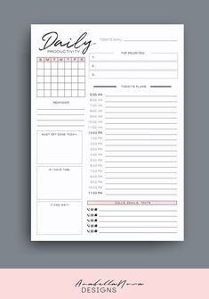 Productivity Planner Schedule Planner To-Do List image 1 To Do Planner, Daily Planner Pages, Study Planner, Weekly Planner Printable, Planner Layout, Agenda Planner, Daily Schedule Printable, School Planner, Project Planner