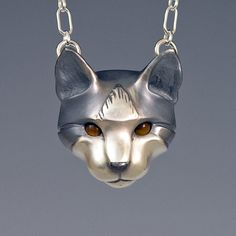 Silver Tabby Cat w/ Tigereye Eyes by Brooke Stone Jewelry