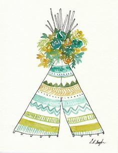 $40: Watercolor Teepee Painting Original Art 8x10 by GrowCreativeShop. Get it now!