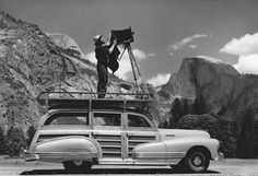 "Ansel Adams (1902-1984).  Best known for his B+W photographs of the American West.  What can I say, we all know his work.  For this one I chose to pick a photograph of Ansel at work.  I love this shot... whoever took it.  I've read Ansel's books ""The Camera"", ""The  Negative"" and ""The Print"" several times in an effort to master my large format camera."