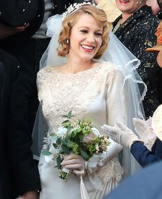 See photos of Blake Lively in a vintage wedding dress. Via Inweddingdress.com #weddingdress