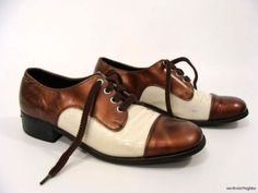 vintage Two Tone Cap Toe Brown Beige Saddle Shoes rockabilly mens 9 womens 10