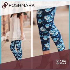 Blue & Teal Soft Springy Floral Printed  Leggings Popular Blue & Teal Floral Print Leggings-(One Pair) Super Soft and Trendy for the Spring🌼  ONE-SIZE-92% Polyester/8% Spandex... Thank You 🛍 DEB Infinity Raine Pants Leggings
