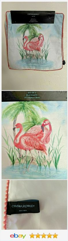 Cynthia Rowley Pink Flamingo Square Placemats Set of 4 Watercolor Tropical