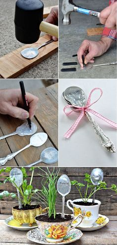 DIY Teacup Planters with Stamped Spoons - 16 Hyper-Creative Ways to Repurpose A Vintage Teacup | GleamItUp
