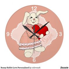 Bunny Rabbit Love Personalized Clock - What an adorable bunny-and-heart clock for the nursery or little girl's room, personalized exclusively for the child!