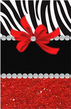 zebra - red glitter with diamond accents and bow - uploaded by Lynn White