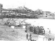 Balnearios en la Playa de San Lorenzo Dolores Park, Public, Travel, B W Photos, 19th Century, Antique Photos, Cities, Beach, Beach Resorts