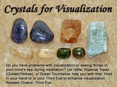 Top Recommended Crystals: Iolite, Imperial Topaz (Golden/Yellow), or Green Tourmaline. Additional Crystal Recommendations: Magnesite, Petalite, Pietersite, Ruby, Selenite, or Ulexite. Visualization is associated with the Third Eye chakra.