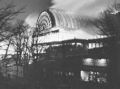 The Crystal Palace in Hyde Park, London, designed by Joseph Paxton (a designer of green houses and engineer). It is noted for some of the earliest innovations in engineering with steel and glass. It was abandoned in 1911, and reacquired in 1913, but burned down in 1936.
