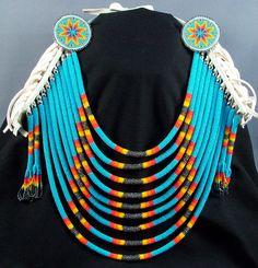 Necklace | Wapazo Designs.  '9 Rope Beaded Breastplate w/ Medallions'.  Czech glass beads, deer buckskin