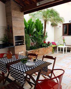 Reforma Em Casa by Lara e Rico ( Home Design Decor, Patio Design, Door Design, House Design, Home Decor, Surf House, Indoor Trees, Rooftop Restaurant, Outdoor Furniture Sets