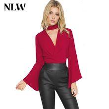 NLW Vestuário Sexy Profundo Decote Em V Bow Caixilhos Mulheres Blusa Vermelha Blusas de verão Estilo Casual Tops Camisa Da Menina de Festa À Noite Elegante 2016 alishoppbrasil