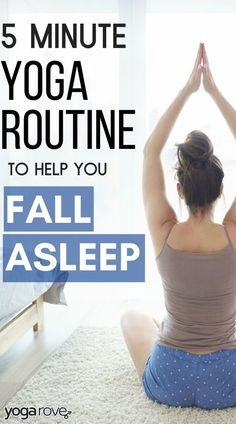 I have issues falling asleep and the practice of yoga calms my mind and makes falling asleep easy. I practice this 5 minute yoga routine at home and fall asleep so fast. I love it! Yoga For Beginners Flexibility, Yoga Routine For Beginners, 5 Minute Yoga, Sleep Yoga, Bedtime Yoga, Yoga Exercises, Weight Exercises, Facial Exercises, Stretches