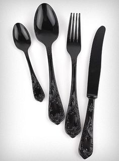 Noir Extravaganza Cutlery Set - eclectic - flatware - - by Plasticland Gothic Kitchen, Goth Home, Cutlery Set, Black Cutlery, Gothic Home Decor, Victorian Decor, Little Black Books, Gothic House, Home Decor