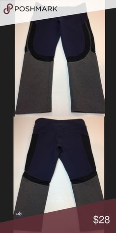 ALO Cropped Leggings Worn once. Black portion of crops are mesh. Smoke free and pet free home. ALO Yoga Pants Ankle & Cropped